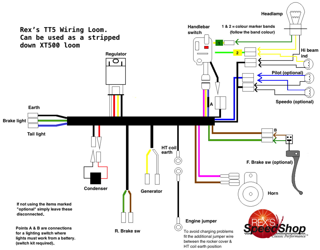 Tt500 12 Volt Wiring Loom Tt5 Rexs Speed Shop Motorcycle Looms