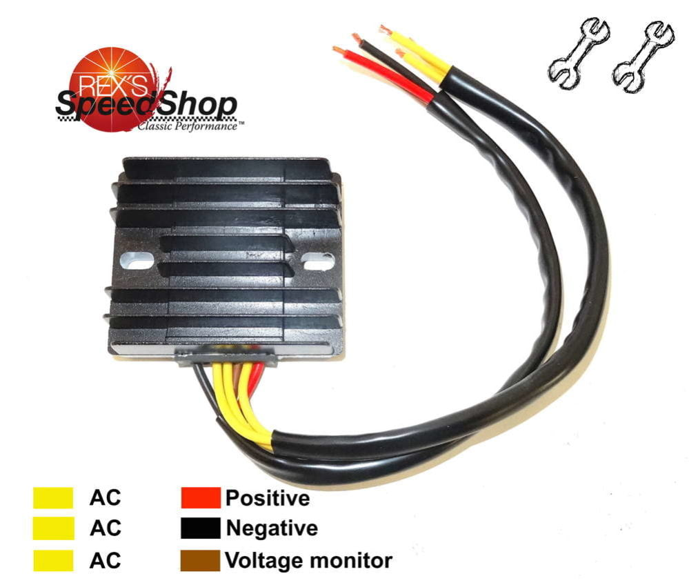6 Wire Universal 12 Volt Regulator Rectifier Rex's Speed Shop Kohler Rectifier  Regulator Wiring Regulator Rectifier Wiring