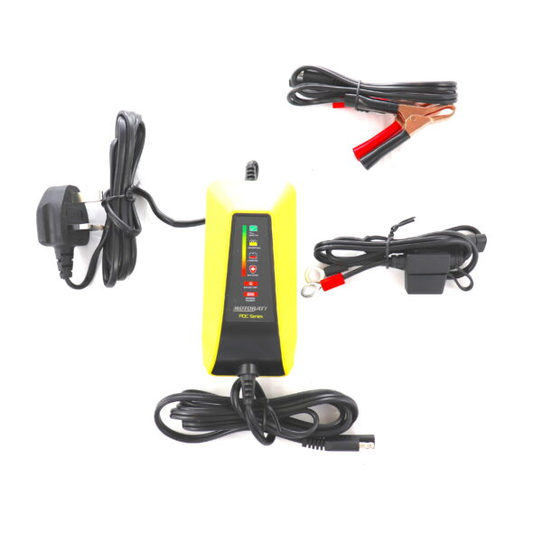 6 7 12 volt motorcycle battery charger by motobatt for wet, agm, gel and sealed batteries